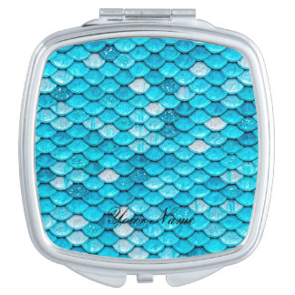 Iridescent Blue Glitter Shiny Mermaid Fish Scales Mirror For Makeup