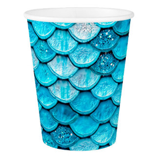 Iridescent Blue Glitter Shiny Mermaid Fish Scales Paper Cup