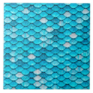 Iridescent Blue Glitter Shiny Mermaid Fish Scales Tile