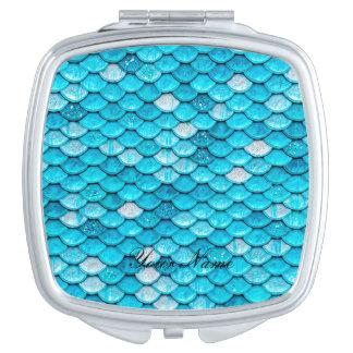 Iridescent Blue Glitter Shiny Mermaid Fish Scales Vanity Mirrors