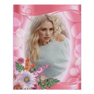 Iridescent Bokeh PInk & Pretty Flowers - DIY Photo Poster