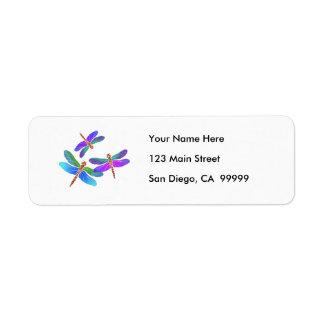 Iridescent Dive Bombing Dragonflies Custom Return Address Label