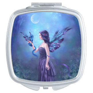 Iridescent Dragon & Fairy Square Compact Mirror