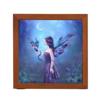 Iridescent Fairy & Dragon Art Desk Organizer