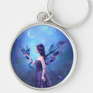 Iridescent Fairy & Dragon Art Premium Keychain