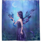 Iridescent Fairy & Dragon Art Shower Curtain