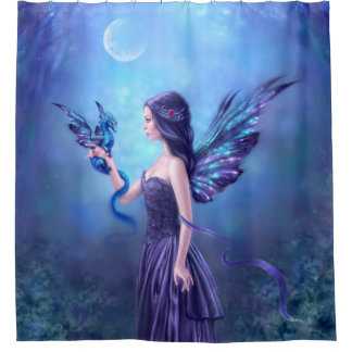 Iridescent Fairy & Dragon Art Shower Curtain