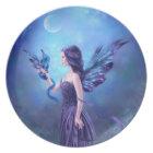 Iridescent Fairy & Dragon Blue & Purple Plate