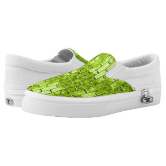 Iridescent Green Bricks Slip-On Sneakers