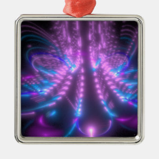 Iridescent Lotus Silver-Colored Square Ornament
