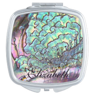 Iridescent Natural Jewel Abalone Mother of Pearl Makeup Mirror