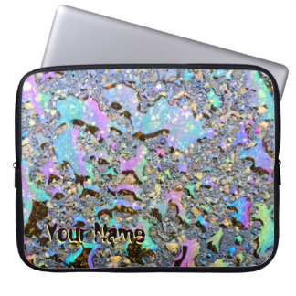 Iridescent Oil Drops Wet Look with Your Name Laptop Sleeves