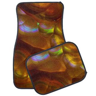 Iridescent orange fire opal car mat