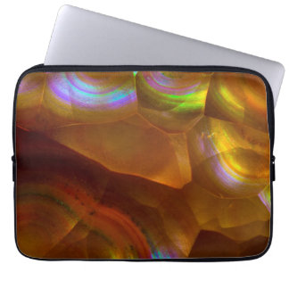 Iridescent orange fire opal laptop computer sleeve