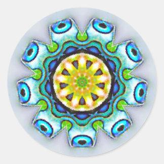 Iridescent Paua Shell Fractal Classic Round Sticker