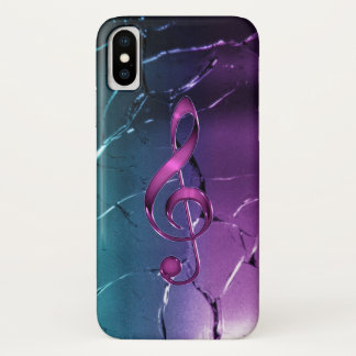 Iridescent Pink and Blue Music Clef iPhone X Case