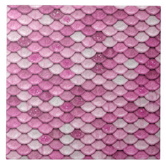 Iridescent Pink Glitter Shiny Mermaid Fish Scales Ceramic Tiles