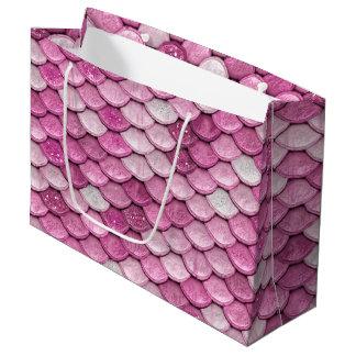 Iridescent Pink Glitter Shiny Mermaid Fish Scales Large Gift Bag