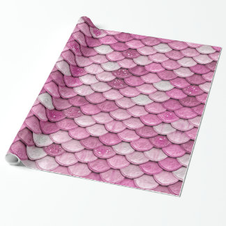 Iridescent Pink Glitter Shiny Mermaid Fish Scales Wrapping Paper