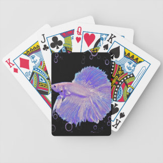 Iridescent Purple Fighting Fish Bicycle Playing Cards