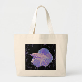 Iridescent Purple Fighting Fish Large Tote Bag
