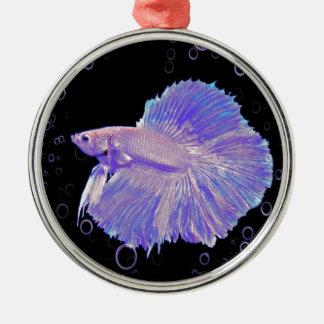 Iridescent Purple Fighting Fish Metal Ornament