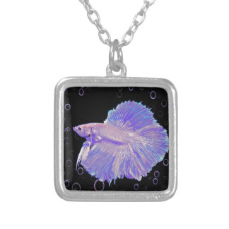 Iridescent Purple Fighting Fish Silver Plated Necklace
