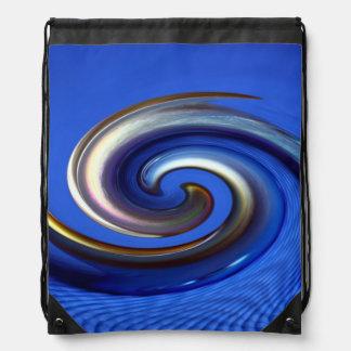 Iridescent Silver Blue Swirl Abstract Cinch Bag