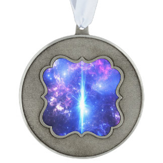 Iridescent Skies Scalloped Pewter Ornament
