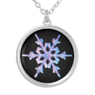 Iridescent snowflake round pendant necklace