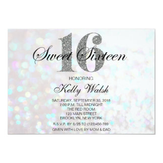 Iridescent Sweet 16 Silver Glitter Invitation