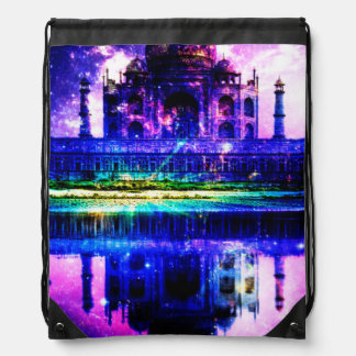 Iridescent Taj Mahal Dreams Drawstring Bag