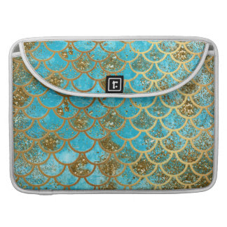 Iridescent Teal Gold Glitter  Mermaid Fish Scales Sleeve For MacBooks