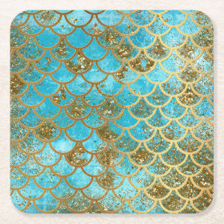 Iridescent Teal Gold Glitter  Mermaid Fish Scales Square Paper Coaster