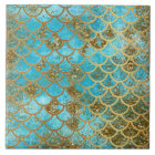 Iridescent Teal Gold Glitter  Mermaid Fish Scales Tile
