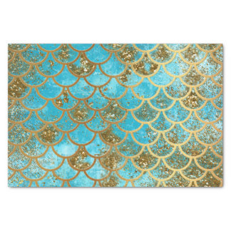 Iridescent Teal Gold Glitter  Mermaid Fish Scales Tissue Paper