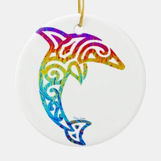 Iridescent Tribal Dolphin Round Ceramic Ornament