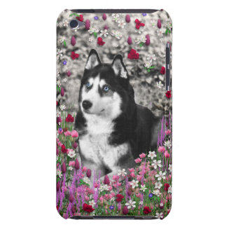 Irie Siberian Husky in Flowers, Black White Dog iPod Touch Covers