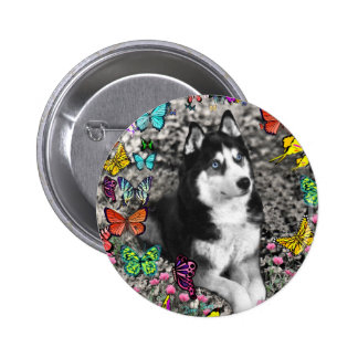 Irie the Siberian Husky in Butterflies 2 Inch Round Button