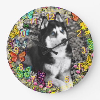 Irie the Siberian Husky in Butterflies II Large Clock