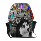 Irie the Siberian Husky in Butterflies Messenger Bag