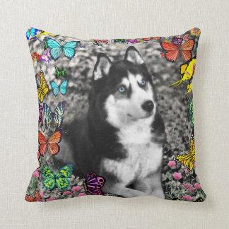 Irie the Siberian Husky in Butterflies Throw Pillow