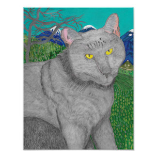 Irina The Cat And View of Mount Baldy Poster