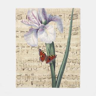 iris and butterfly music fleece blanket