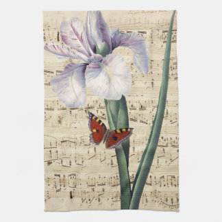 iris and butterfly music kitchen towel