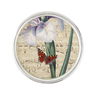 iris and butterfly music lapel pin