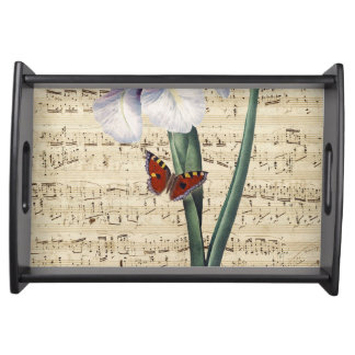 iris and butterfly music serving tray