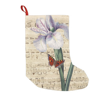 iris and butterfly music small christmas stocking