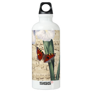 iris and butterfly music water bottle