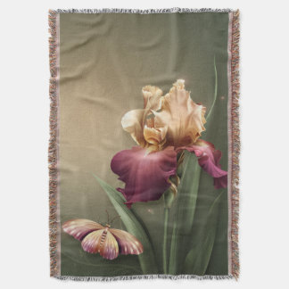 Iris and Butterfly Throw Blanket